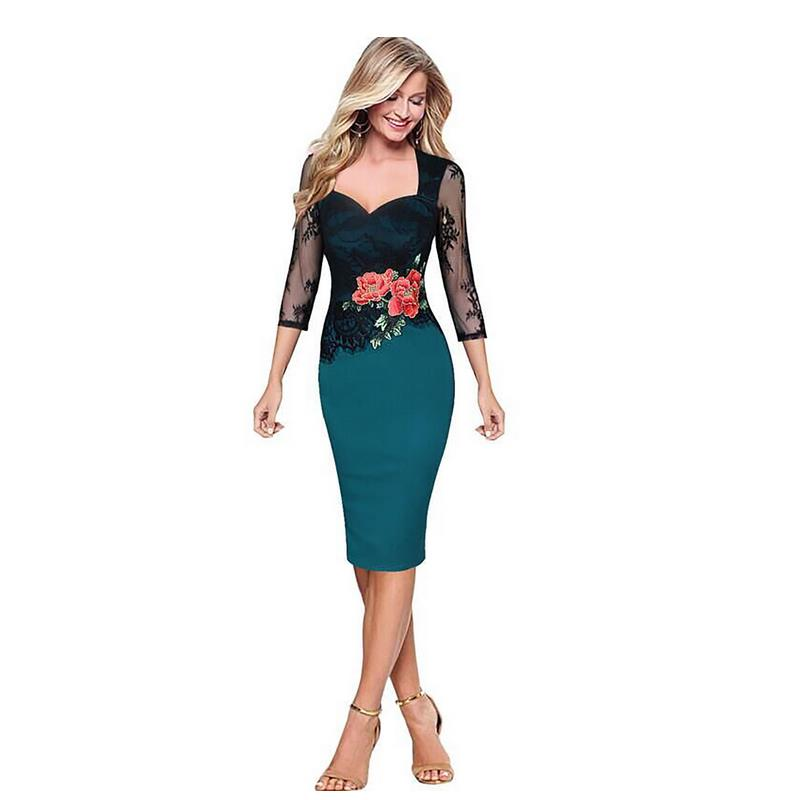 Ladies Elegant Retro Embroidery Mesh Contrast Slim Slim Casual Work Special Occasions Party Pencils Embroidered Dresses size G27