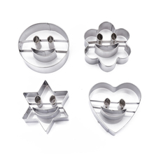 4Pcs/lot Cute Emoji Cookie Cutter Flower Star Heart Round Shape Stainless Steel Cake Pressing Chocolate Candy Mold Baking Mould
