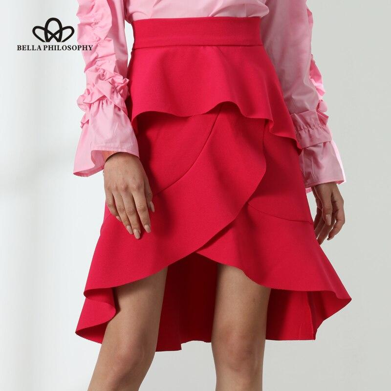 Bella Philosophy 2017 Asymmetrical skirt women summer high low ruffles skirt rose red irregular asymmertrical casual layered