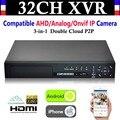 НОВЫЙ 32CH 8-канальный HD 1080 P 4 * HDD P2P ВИДЕОНАБЛЮДЕНИЯ Видеорегистратор Hybrid NVR AHD DVR + 1080N 3-в-1 видеонаблюдения AHD/Аналоговый/Onvif IP Камеры