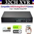 NEW 32CH Channel HD 1080P 4*HDD P2P CCTV Video Recorder Hybrid NVR AHD DVR+1080N 3-in-1 Surveillance AHD/Analog/Onvif IP Camera