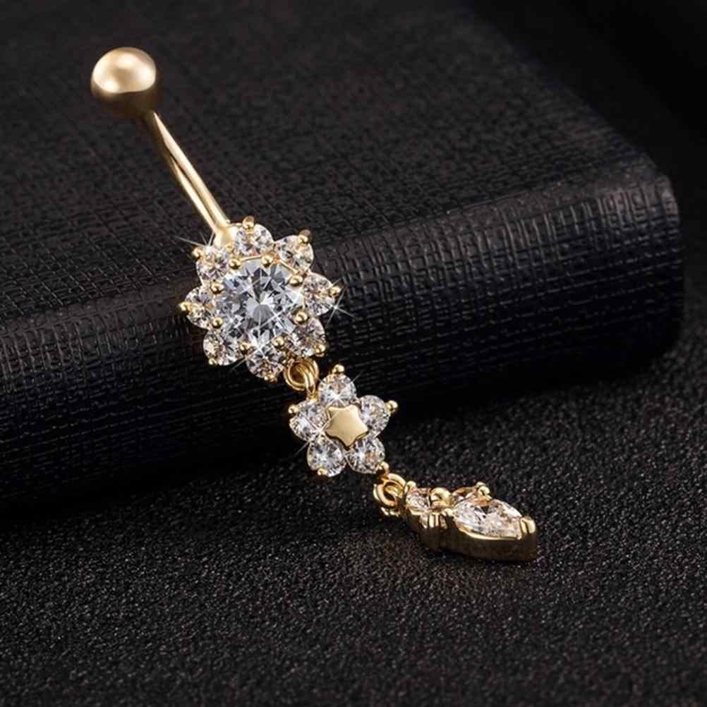 Wholesales זהב-צבע להתנדנד פרח AAA קריסטל CZ טבור פעמון כפתור טבעות סקסי פירסינג טבור גוף תכשיטים