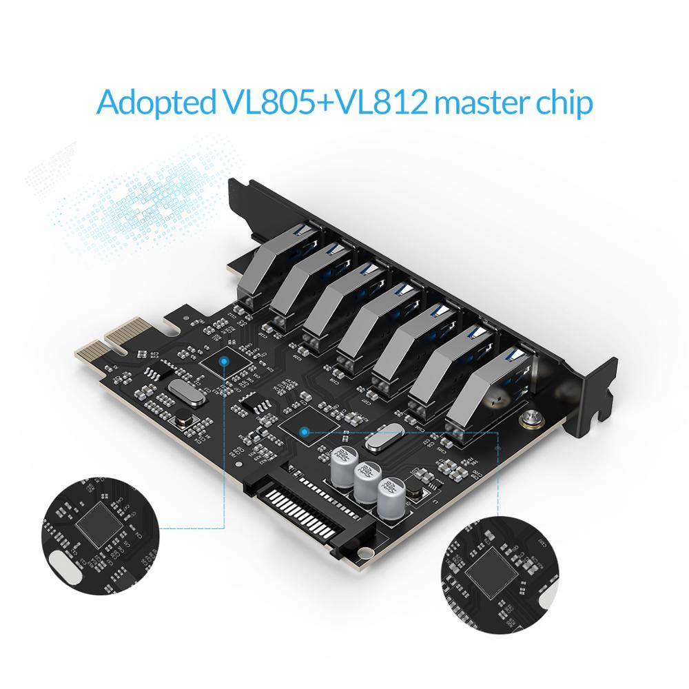 Image 2 - ORICO SuperSpeed USB 3.0 7 Port PCI E Express card with a 15pin SATA Power Connector PCIE Adapt VL805 and VL812 chipsetsport satausb3.0 pci-epci-e usb3.0 -