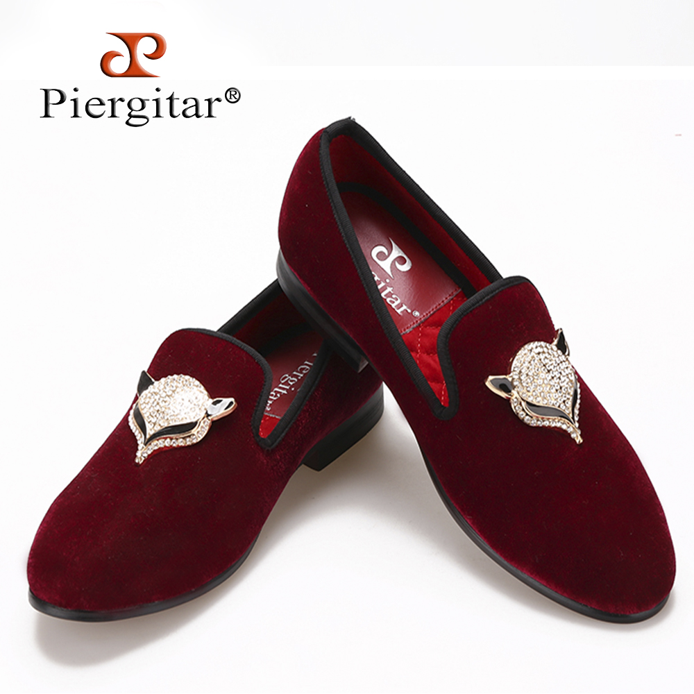 2018 Piergitar NewStyle Velvet Men Shoes with Fox Rhinestone buckle Loafers Smoking Slipper Men Flats Size US 4-17 Free Shipping flower lattice velvet fabric men shoes men smoking slipper prom and banquet male loafers men flats size us 4 17 free shipping