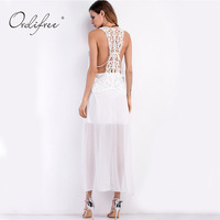 Ordifree 2017 Summer Women Long Beach Dress Sexy Slit Loose White Sundress Off Shoulder Lace Crochet
