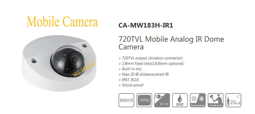 Free Shipping DAHUA CCTV Shock-proof  Camera 720TVL Mobile Analog IR Dome Camera Without Logo CA-MW183H-IR1