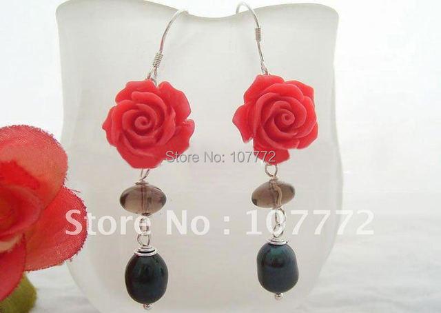 Perla y cuarzo ahumado y Coral Flower pendiente-925 astilla Hook libre + shippment