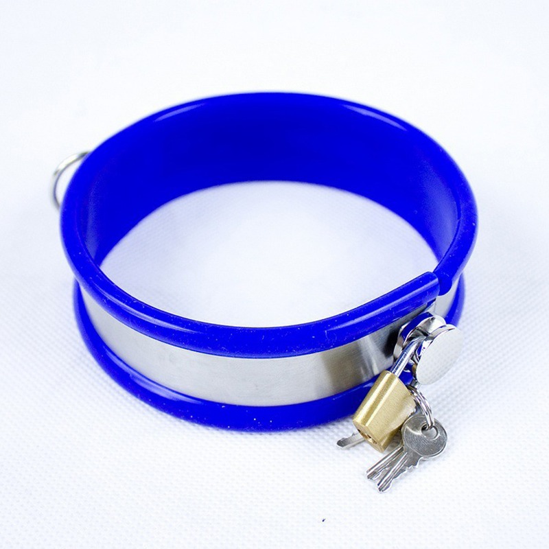 2 color stainless steel collar bondage restraints sex collar With lock silicone blue pink bdsm collar sex toys for couples цена