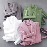 Roupão de banho de inverno toalha de lã grossa pijamas quentes homens robe de noite quimono roupão de banho pijamas senhora quimono robe Vestes     -