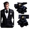 Padrinhos de casamento Bow Tie cantos de Metal multicamadas bow-tie flor ternos de negócio dos homens de colarinho gravata