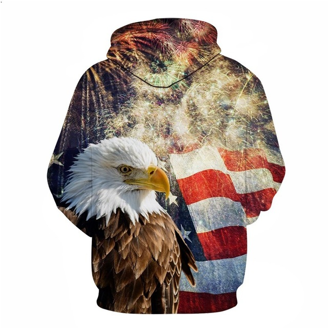 BIANYILONG 2018 new Hoodies man New Year Fireworks American Flag Eagle Hoodie Casual Hooded Sweatshirt Pullover US Size