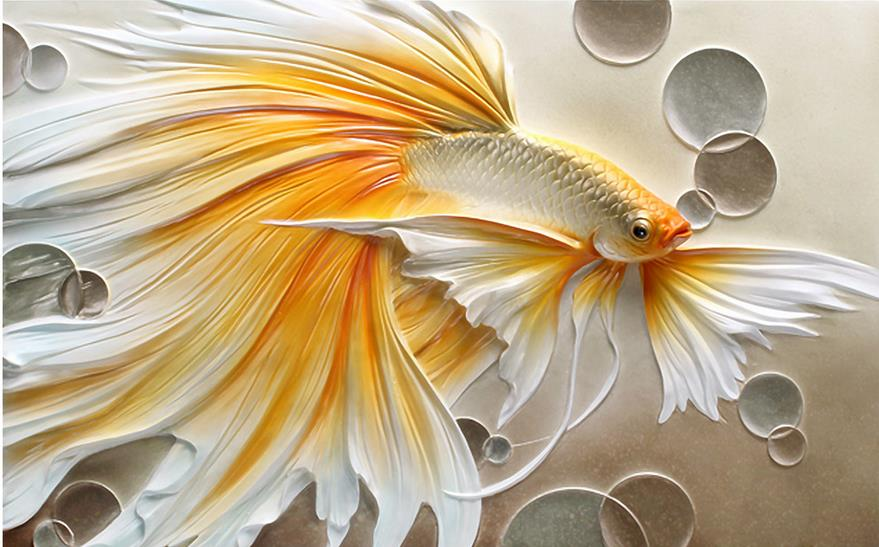 Us 14 11 49 Off 3d Ceiling Murals Wallpaper Custom Photo Non Woven Golden Relief Goldfish Painting 3d Wall Mural Wallpaper For Living Room In