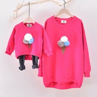 Family   clothing autumn and winter cotton Ice cream hoodie active mother and daughter clothes   Family     Matching     Outfits