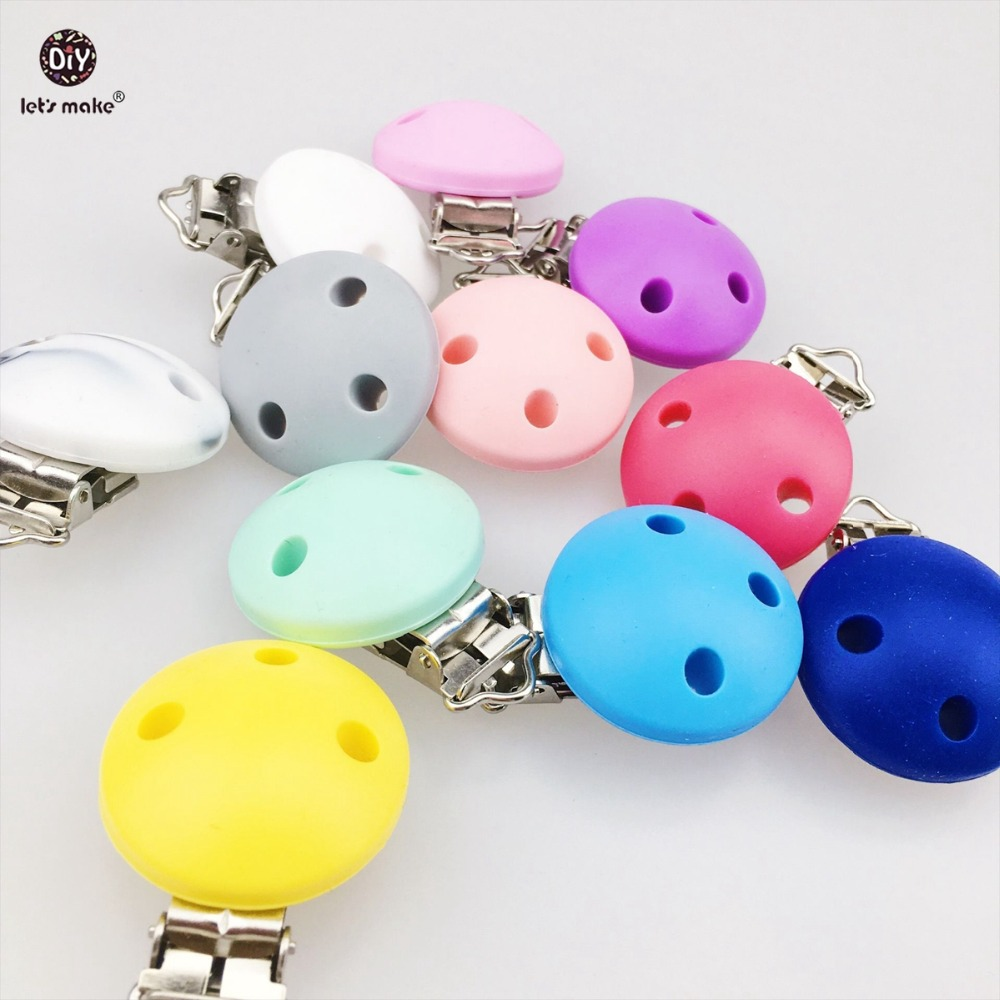 Let's Make Baby Teether 20pc Round Shape Teething Pacifier Chain  Holder Clip BPA Free Silicone Clips For Baby Nursing Bracelet