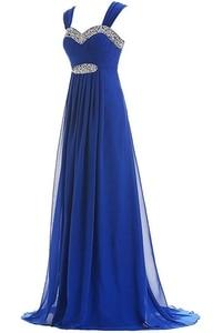 Image 2 - Angelsbridep Blauw Vestido Longo Avondjurk Cap Schouder Kralen Volledige Lengte Party Gown Speciale Gelegenheid Pageant Gown Hot