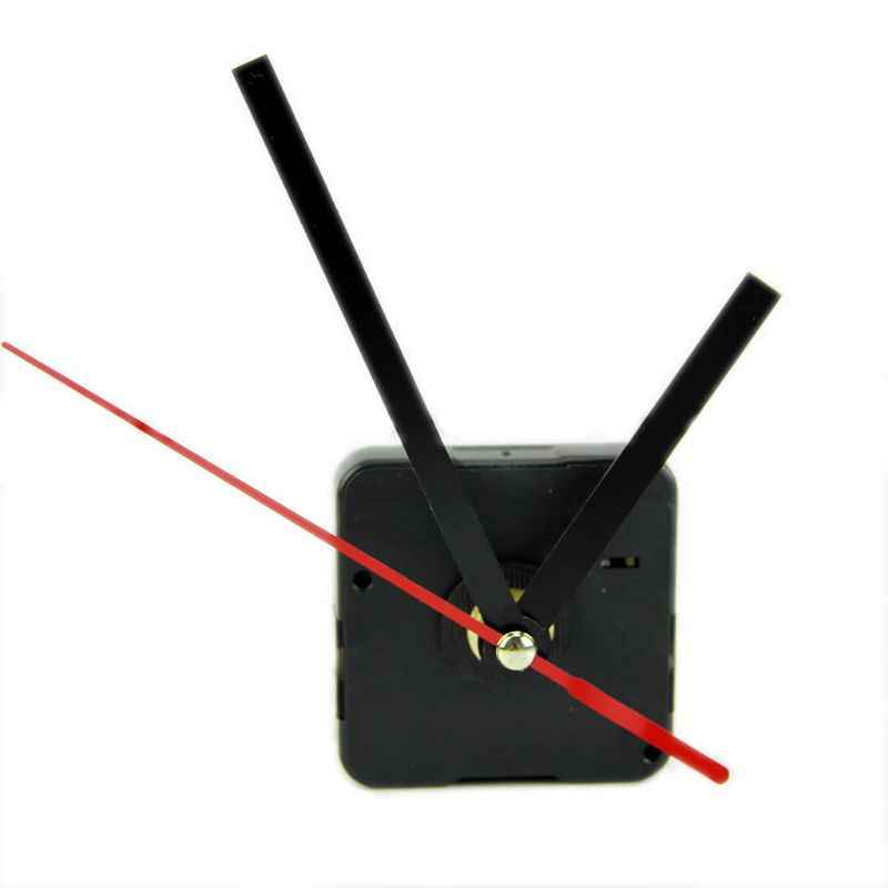 1 Set Silent large wall Quartz Clock Movement Mechanism Black & Red Hands Repair Tool Parts Kit DIY Set With Hook Drop Shipping