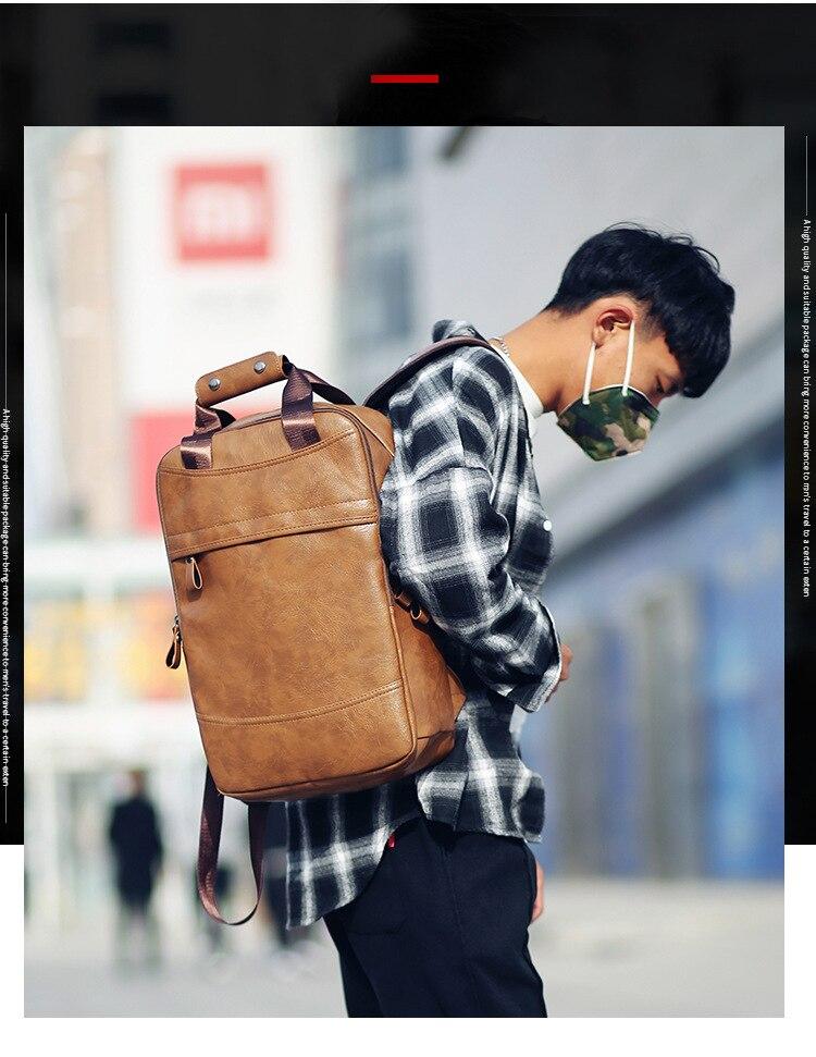 Mochila Da Escola mochila Saco de Viagem Dos Homens De Couro Preto