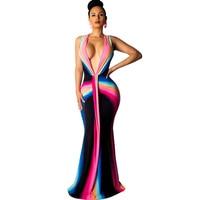 Sexy Rainbow Print Mermaid Bodycon Maxi Dress Women Deep V neck Floor length Elegant Evening Night Club Celebrity Party Dresses