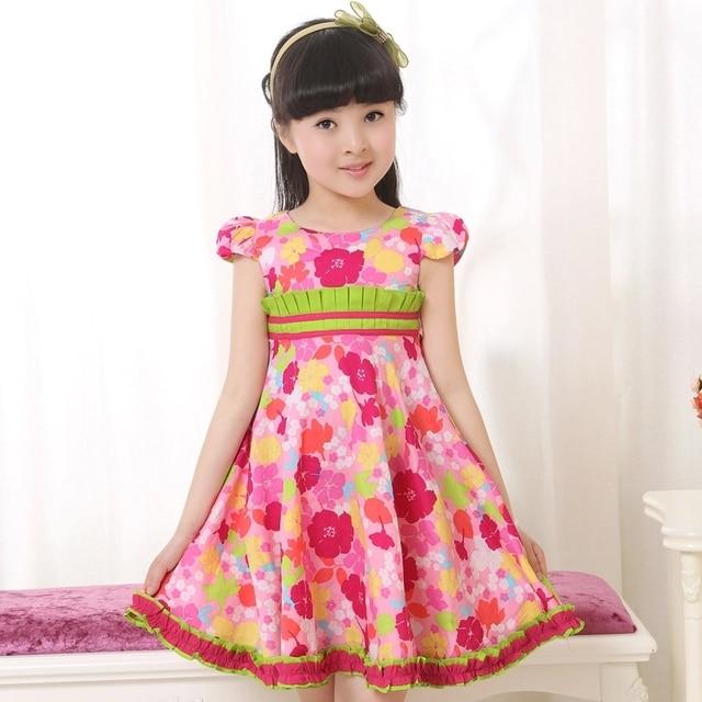 c7f51c1f5de3 New 2017 Summer Girls Clothes Kids Dress Girls Flower Dress 100% Cotton  Short Sleeve Bow Belt Top Quality Girl Dress Size 3 - 13