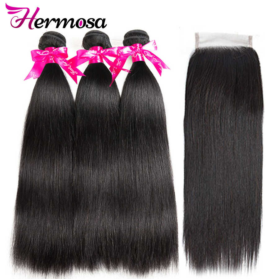 Hermosa Straight Hair Bundles With Closure Double Weft Human Hair 3 Bundles With Closure Remy Brazilian Hair Weave Bundles