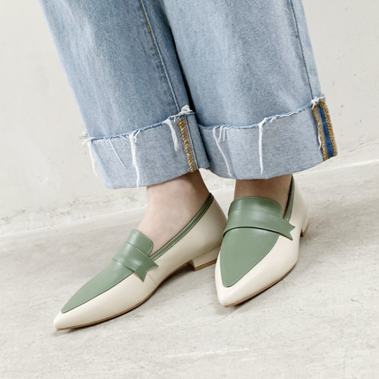 MLJUESE 2019 women flats Cow leather pointed toe mixed colors comfortable flats shoes spring autumn casual
