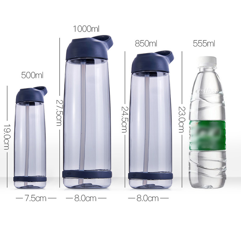 500/850/1000ml Sport Water Bottle With Straw Leak Proof Fitness Bottle With Carrying Handle BPA Free Plastic Drinkware Outdoor