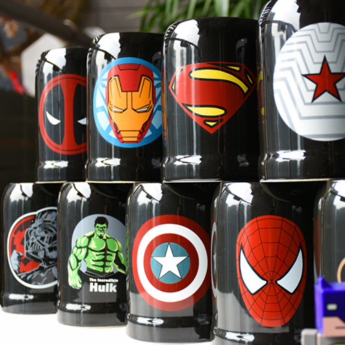 Fashion Super Hero Ceranic Mugs Cup Creative With Spoon and Cover Milk Mug Travel Cup Portable Tumbler Drink Iron man and batman gift for boyfriend on anniversary