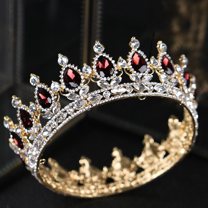 Baroque Vintage Gold Hair Jewelry Red Crystal Tiaras And Crown For Wedding Women Bride Queen King Hair Accessories Show Ornament 00009 red gold bride wedding hair tiaras ancient chinese empress hair piece