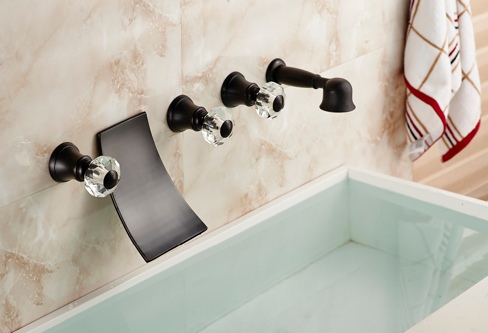 Elegant Crystal Handles Waterfall Spout Oil Rubbed Bronze Tub Shower Faucet Tap