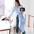 [CHICEVER] 2017 Korean Designer Brief Elegant Fashion V Collar Slit Hem Long T-shirt Women New Autumn