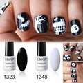 Elite99 7ml French Black White Gel Polish for Halloween Nail Art Design Soak Off  UV/LED Classic Nail Polish Gel Lacquer Set