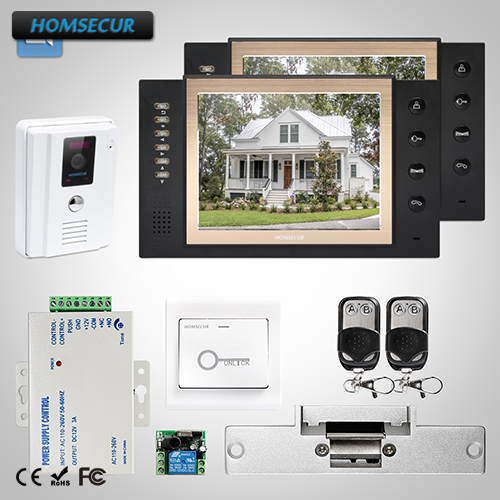 HOMSECUR 8 Video&Audio Home Intercom Electric Strike Lock Set Included TC011-W + TM801R-B
