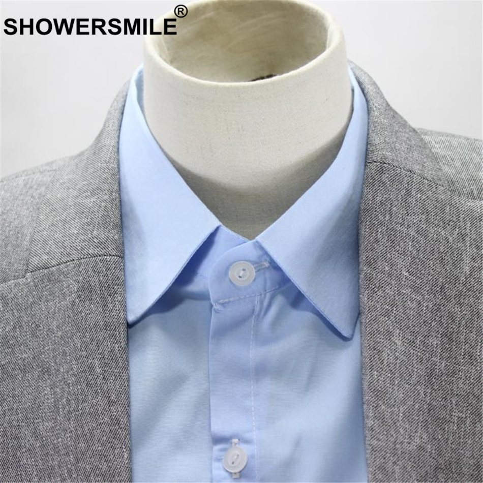 SHOWERSMILE Shirt Fake Collar Blue Peaked Lapel Women Men Detachable Collar For Business Suit Cotton Solid Formal Faux Collar