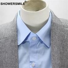 SHOWERSMILE Shirt Fake Collar Blue Peaked Lapel Women Men Detachable Collar For Business Suit Cotton Solid Formal Faux Collar недорого