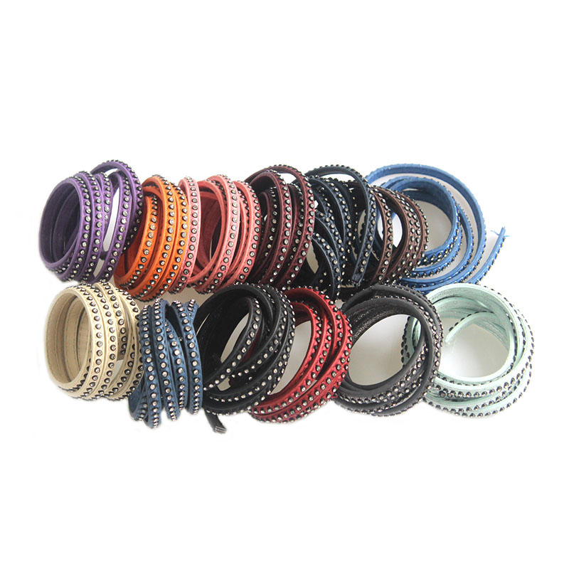 1meter New Fashion Jewelry 7mm PU Flat Leather Cord With Rhinestone 7x2MM For DIY Bracelets & Bangles Jewelry Making Findings