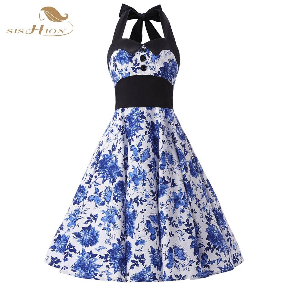 Sishion Elegant China Blue Fl Dress Women Halter On High Waist Tunic Vestidos 50s 60s Vintage Swing Party Vd0252 In Dresses From S
