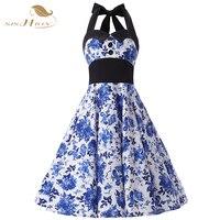 SISHION Elegant China Blue Floral Dress Halter Button High Waist Tunic Vestidos 50s 60s Audrey Hepburn