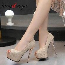 купить 2019 fashion women Super High Heels shoes Concise platform Peep Toe pumps shoes Wedding Party Sexy 14cm OL Office shoes women дешево