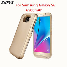 ZKFYS 6500mAh High Quality Backup Power Bank Charger Battery Case For Samsung Galaxy S6 Portable External Bracket Cover