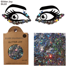 Sequins Face Body-Makeup Glitter Holographic-Body One-Pack Silver of GL22 Festival Beauty