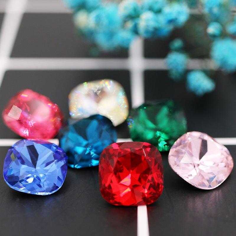 8mm/10mm/12mm Pointback Glass Rhinestones High Quality Crystal Fat Square Shape Rhinestones 20pcs Diy Clothing Accessories