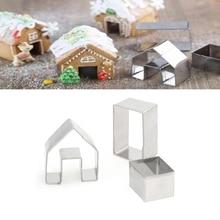 3 шт Рождественский Пряничный дом бисквитный резак набор из нержавеющей стали формы для печенья