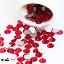 1440pcs/Lot, ss4 (1.5-1.7mm)  Light Siam Flat Back ( 3d Nail Art decorations ) Non Hot Fix Glue on Rhinestones for nail crystal