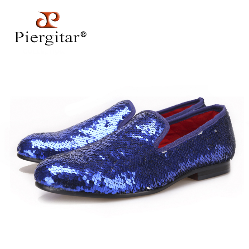 PIERGITAR 2017 Luxury Evening Party Blue Beads Men's Handmade Loafers Wedding and Prom men smoking slippers big size male flats piergitar 2017 new handmade men loafers with tie design fashion prom and banquest men smoking slippers plus size male flats