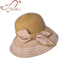 EDENHATS Ladies Straw Ribbon Sun Hat with Matching Bowknot Summer Beach Hat  S10-3699 f112ded1479c
