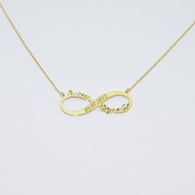 Double Personalized  Nameplate Infinity Necklaces