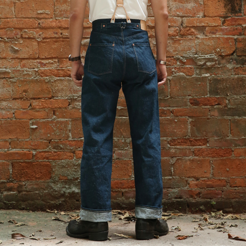 Read Description! Bronson raw indigo selvage unwashed 13oz denim high waist pants unwashed raw denim jean LOT910 raw trim denim sandals