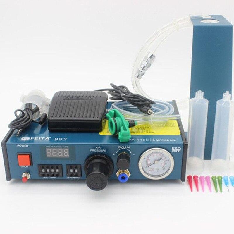 Aliexpress gros haute qualité FT-983 numérique Fluide Distributeur Automatique Colle Distributeur colle distribution contrôleur machine
