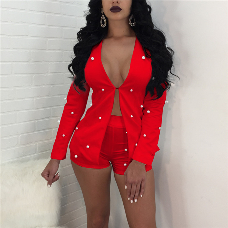 Pearls Accent Women Office Business Suits Cardigan Blazer Coat And Shorts Slim Full Sleeve Two Piece Set Club Wear Outfits