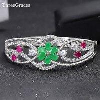 ThreeGraces Bella Monili Delle Donne Oro Bianco Bel Colore Verde Fiore di Cristallo Rosso Cubic Zirconia Bridal Wedding Braccialetti BA013